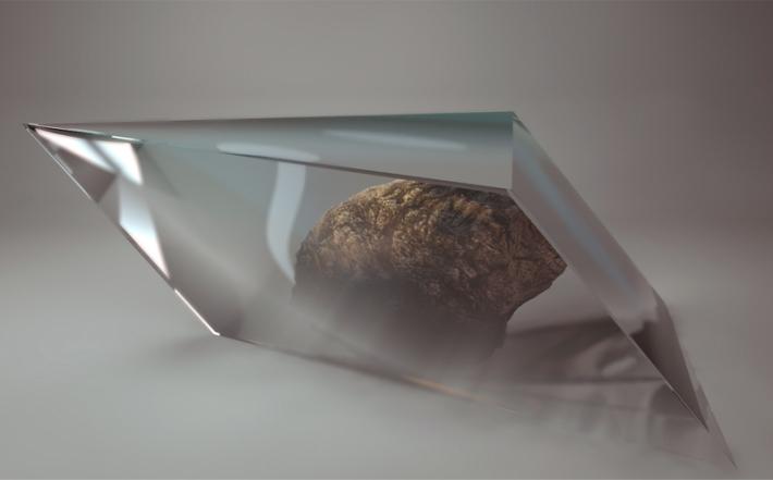 Kamienie w szkle(kamień polny), grafika 3D, 50x40cm, 2014